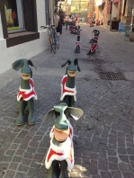 A line of welly-dogs encouraging you towards one of the local craft shops