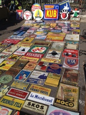 Wonderful collection of enamel signs, Brocante Market L'Isle sur La Sorgue