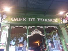 Classical old frontage of Cafe De France, L'Isle sur la Sorgue