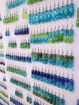 Love the watery tones of these glass earrings - Apt market