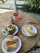 Local asparagus & a goat's cheese salad for supper