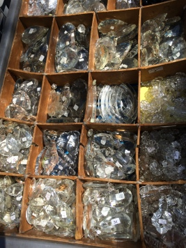 Beautiful old drops from glass chandeliers to be turned into jewellery