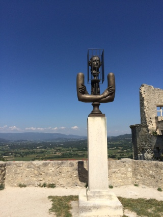 'Caged Head' sculpture - Chateau, Lacoste