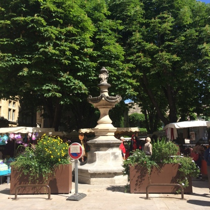 A shady Square in St Remy De Provence market