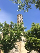 View of the Cathedral Tower on arrival at Uzes
