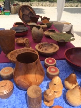 Some of the wooden bowls etc on a stall at the Fete De L'Olivier