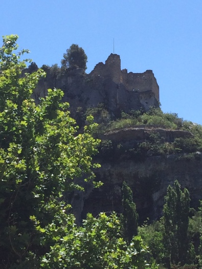 Beautiful view over the ruined Chateau, which keeps watch above the old village