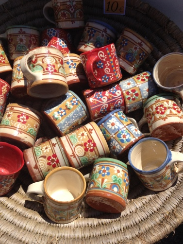 Bright handpainted mugs - Gordes pottery market