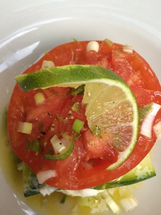 Mille-feuilles of 'Coeur De Boeuf' tomatoes, courgette & mozarella