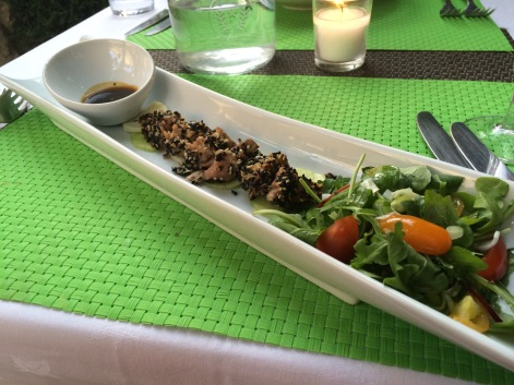 Seared 'sesame-crusted' tuna with black radish &
