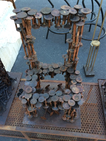 Not the most comfortable of chairs .... made from reclaimed bolts!!