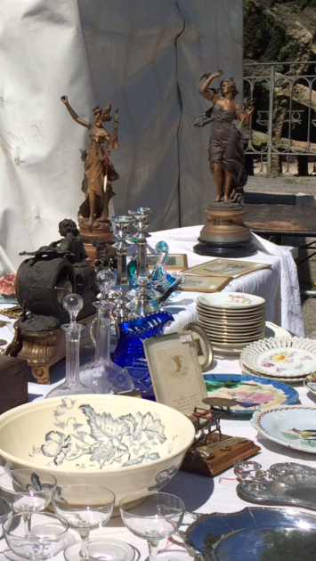 Wonderful old glassware & tableware, perfect for setting one of the beautiful old tables that were for sale too....